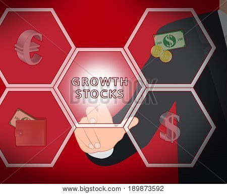 Growth Stocks Displays Rising Shares 3D Illustration
