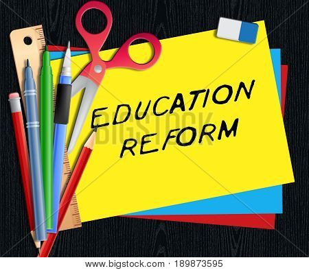 Education Reform Shows Changing Learning 3D Illustration