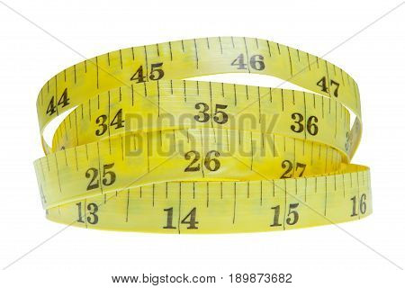 Yellow Coiled Tape Measure Isolated On White Background With With Clipping Path