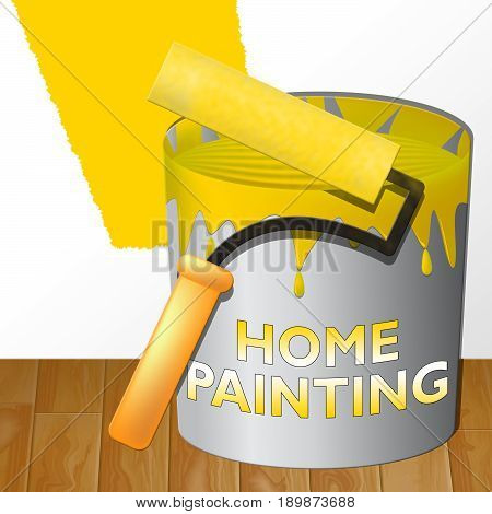 Home Painting Means House Painter 3D Illustration