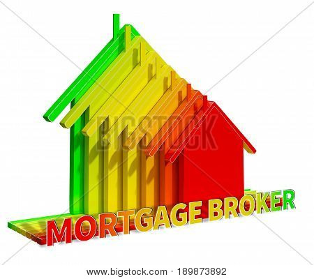 Mortgage Broker Eco House Displays Home Loan 3d Illustration poster