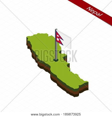 Nepal Isometric Map And Flag. Vector Illustration.