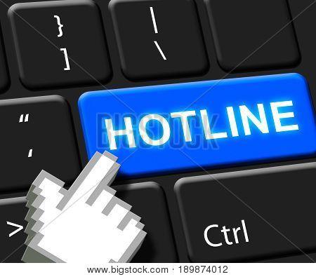 Hotline Key Showing Online Help 3D Illustration