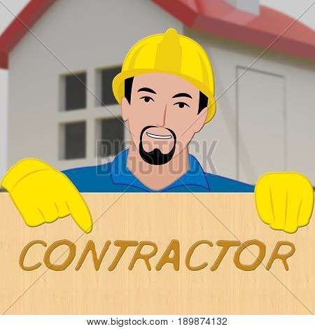 Building Contractor Showing Home Improvement 3D Illustration