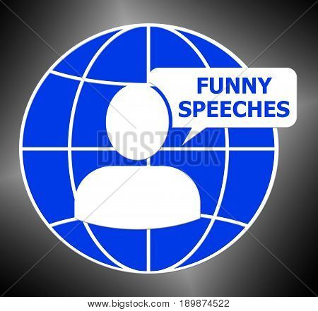Funny Speeches Icon Means Witty Speech 3D Illustration