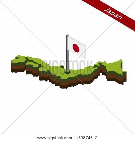 Japan Isometric Map And Flag. Vector Illustration.