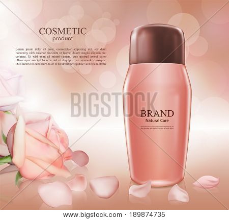 Cosmetic ads poster.Moisturizing nourishing cream for skin protection based on natural ingredients isolated on glowing background.Mockup 3D Realistic vector illustration with roses on the pink background