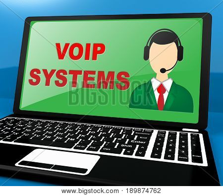 Voip Systems Shows Internet Voice 3D Illustration