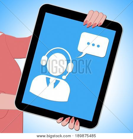 Voip Tablet Showing Voice Over Broadband 3D Illustration