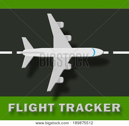 Flight Tracker Means Airplane Status 3D Illustration