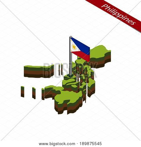Philippines Isometric Map And Flag. Vector Illustration.