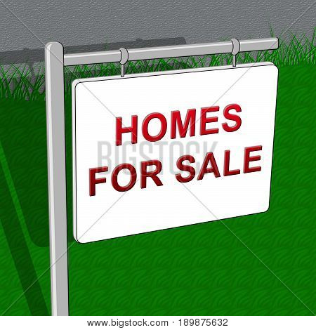 Homes For Sale Means Sell House 3D Illustration