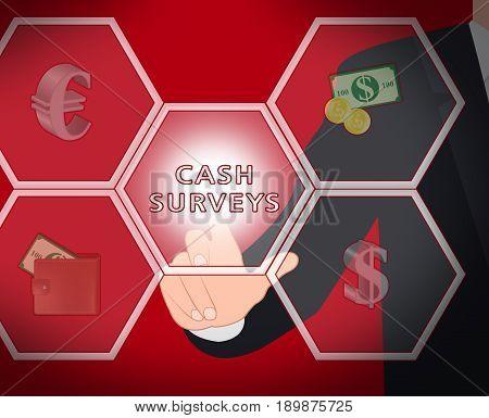 Cash Surveys Displays Paid Survey 3D Illustration