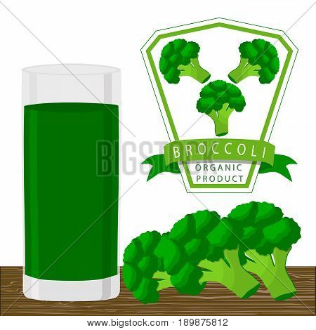 Vector illustration logo for whole ripe vegetables broccoli with green stem leaf cut sliced closeup background.Broccoli drawing pattern consisting of tag label bow peel ripe food.Drink glass broccolis