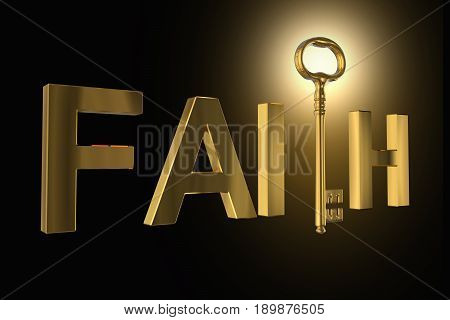 3D Rendering Of The Golden Key In Faith Letters