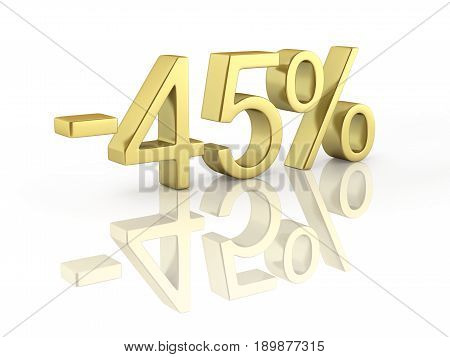 Gold Text 45 Percent Off On White Background With Reflection 3D Render