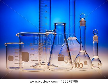 Different laboratory beakers and glassware used in biology