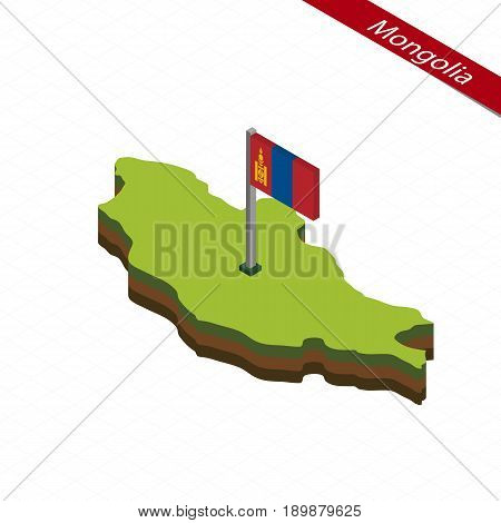 Isometric map and flag of Mongolia. 3D isometric shape of Mongolia. Vector Illustration.