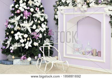 Christmas decorated room photo studio interior. Winter holiday