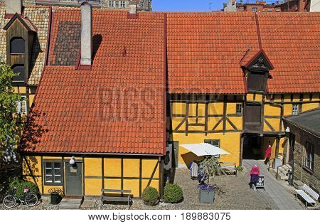 Timber Framing Building In Old Town Of Malmo, Sweden