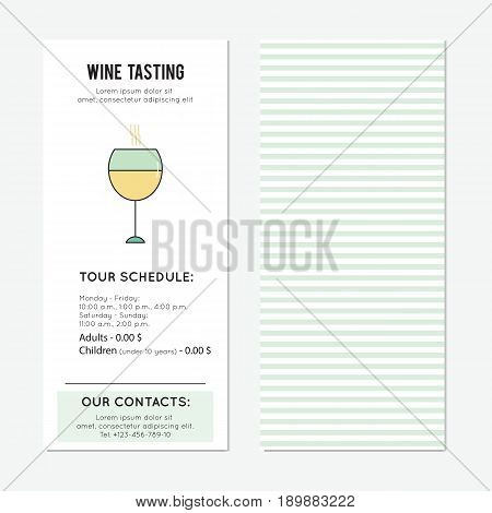 Wine glass. Restaurant or tasting tour vector vertical banner template. For travel agency products, tour brochure, excursion banner. Simple mono linear modern design.