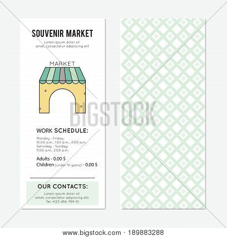 Souvenir market vector vertical banner template. The tour announcement. For travel agency products, tour brochure, excursion banner. Simple mono linear modern design.