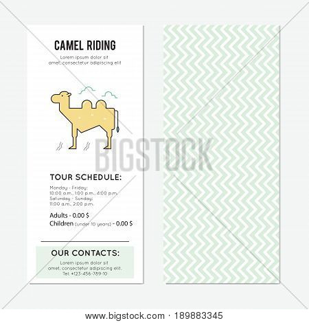 Camel riding vector vertical banner template. The tour announcement. For travel agency products, tour brochure, excursion banner. Simple mono linear modern design.
