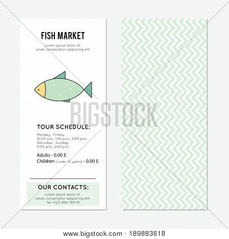 Fish market vector vertical banner template. The tour announcement. For travel agency products, tour brochure, excursion banner. Simple mono linear modern design.