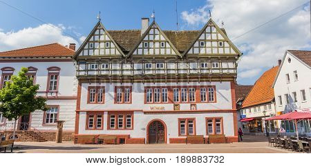 BLOMBERG, GERMANY - MAY 22, 2017: Panorama of the old town hall in Blomberg, Germany