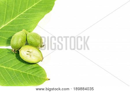 One green walnut cut with two whole walnuts and leaves on white background