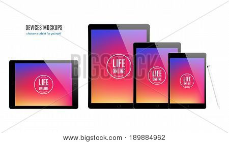 tablet mockup set with colorful screen isolated on white background. stock vector illustration eps10