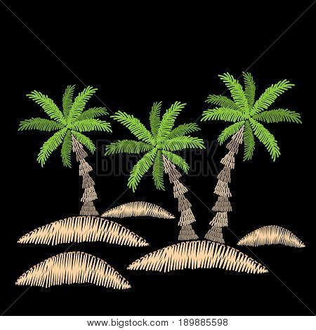 Palm tree embroidery stitches imitation on black background. Embroidery vector illustration with exotic palm tree. Vector isolated palm embroidery illustration.