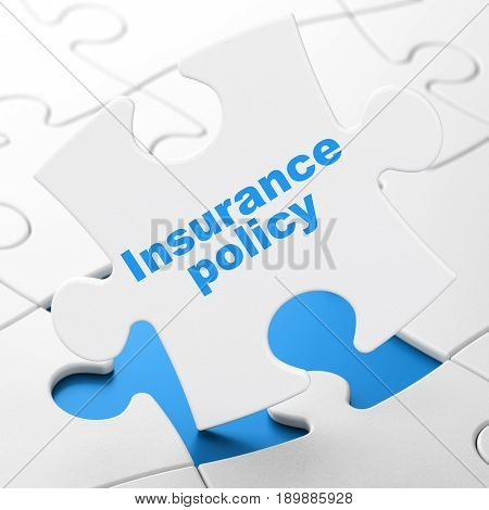Insurance concept: Insurance Policy on White puzzle pieces background, 3D rendering