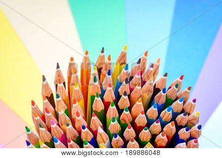 Close up macro shot of sharp colorful pencils