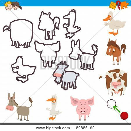 Cartoon Illustration of Educational Activity of Matching Shapes of Farm Animal Characters for Children