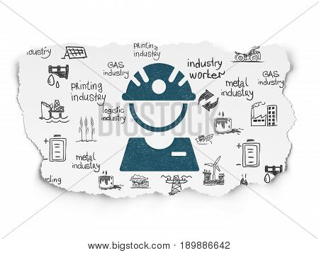 Manufacuring concept: Painted blue Factory Worker icon on Torn Paper background with  Hand Drawn Industry Icons