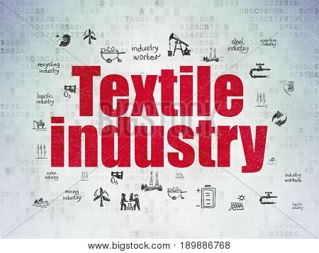 Industry concept: Painted red text Textile Industry on Digital Data Paper background with  Hand Drawn Industry Icons