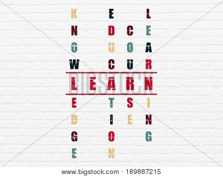 Studying concept: Painted red word Learn in solving Crossword Puzzle