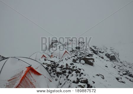 Mount Elbrus From The Base Camp In The Fog