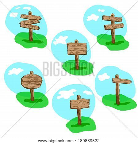 Set of cartoon style vector wooden sign standing in grass. Round arrow and square shapes blank wooden signpost collection