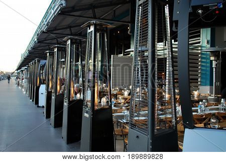 SYDNEY AUSTRALIA - JULY 11 2016: Woolloomooloo wharf luxury dining area. Criniti's Woolloomooloo is an Italian restaurant on 2/6 Cowper Wharf Rd