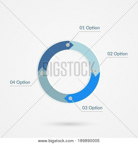 Four options infographics. Isolated 1 2 3 4 step number symbol background. Blue gray and white vector icon on abstract line background. Business illustration icon for marketing presentation project web design template
