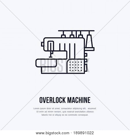 Sewing machine overlock flat line icon, logo. Vector illustration of tailor supplies for hand made shop or dressmaking service.