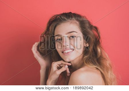 Woman With Happy Smiling Face And Fashion Hair, No Makeup