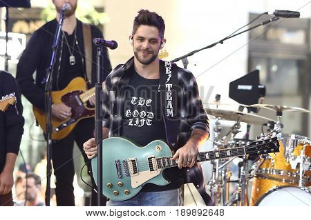 NEW YORK-JUN 2: Thomas Rhett performs on NBC's Today Show at Rockefeller Plaza on June 2, 2017 in New York City.