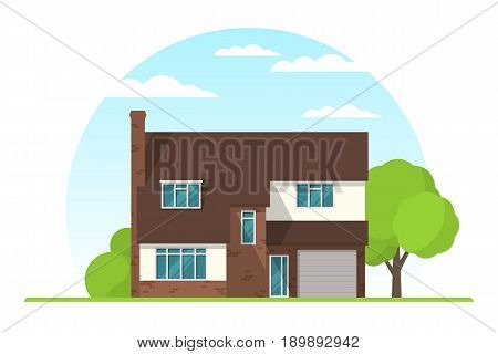 Frontview of english style suburban private house. Flat design. Vector illustration.