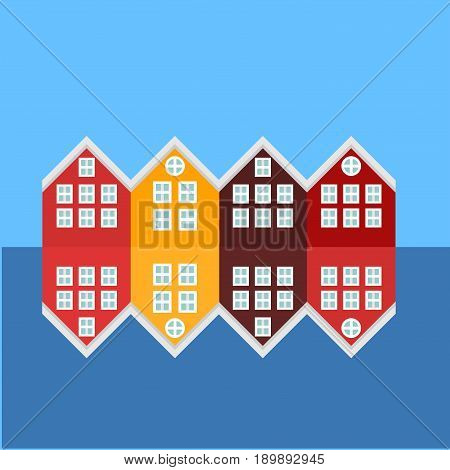 Bergen City sights icons. Norway landmark. View of historical buildings. Wooden colorful buildings.