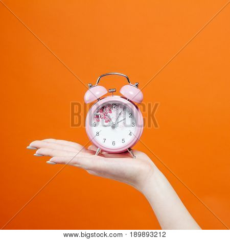 Female Hand is Holding Pink Clock on Orange Background in Studio. Time Concept.