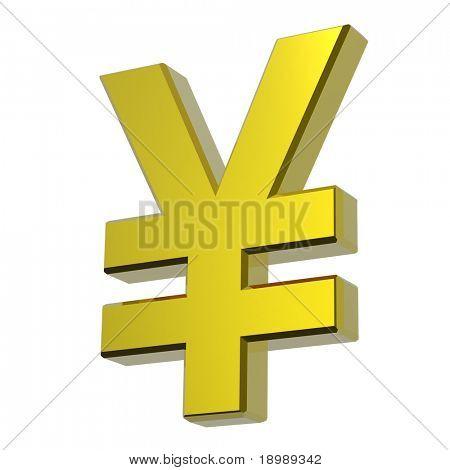 Gold Yen-Zeichen, isolated on White. Computergenerierte 3D Foto Rendering.