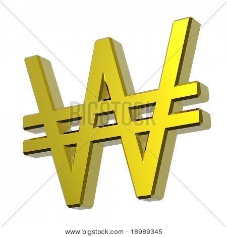 Gold Won sign isolated on white. Computer generated 3D photo rendering.